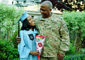 SEAS graduate Ruby D. Robinson got the surprise of her life when her father, U.S. Army Captain Keith Robinson, showed up in person on Class Day.