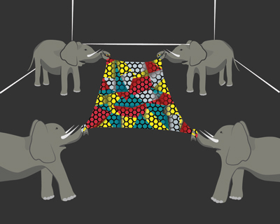 4 elephants, each pulling on a sheet of Graphene, and not tearing or breaking it.