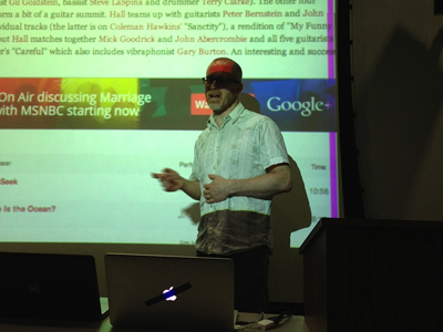 Douglas Repetto, assistant professor of professional practice in visual arts, gave a keynote talk at the hackathon