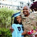 Graduate Ruby Robinson with her father, U.S. Army Captain Keith Robinson